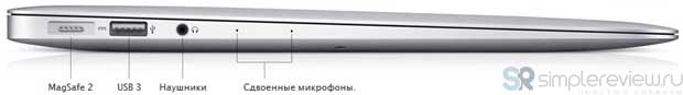 Левая грань Apple MacBook Air 2013