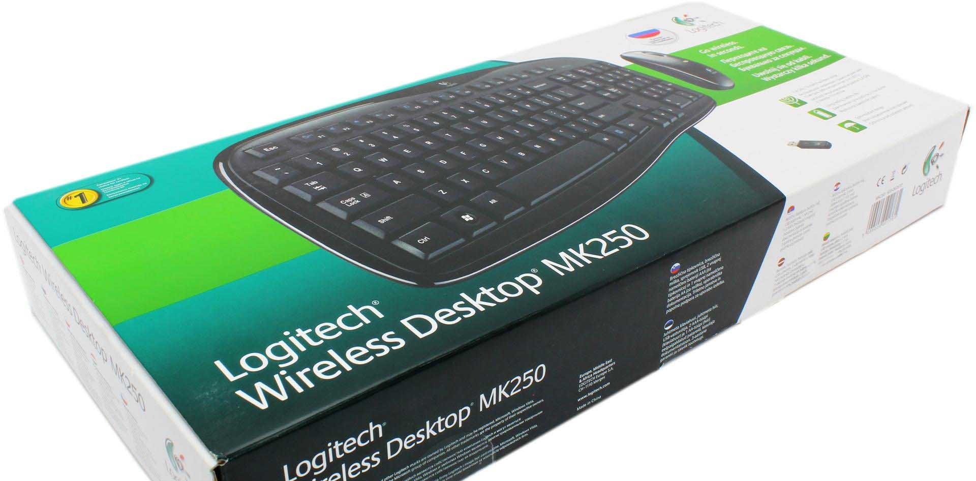 Упаковка Logitech Wireless Desktop MK250
